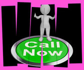 Call Now Pressed Shows Customer Support Helpline — Stock Photo