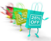 Twenty-five Percent Off On Colored Bags Show Bargains — Stock Photo
