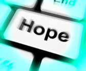 Hope Keyboard Shows Hoping Hopeful Wishing Or Wishful — Stock Photo