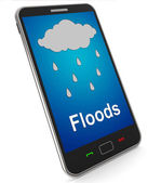 Floods On Mobile Shows Rain Causing Floods And Flooding — Stock Photo