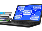 Win Map Laptop Shows Learn Listen Grow And Change — Stock Photo