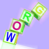 Grow Word Shows Advancing Expanding And Developing — Stock Photo