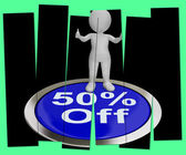 Fifty Percent Off Pressed Shows 50 Price Markdown — Stock Photo