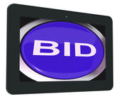 Bid Tablet Shows Online Auction Or Bidding — Stock Photo