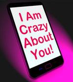 я с ума, о вас на мобильные средства любовь — Стоковое фото