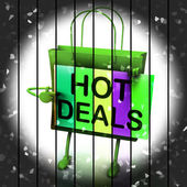 Hot Deals Shopping Bag Shows Discounts and Bargains — Stock Photo