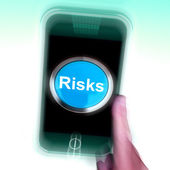 Risks On Mobile Phone Shows Investment Risks And Economy Crisis — Stock Photo