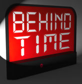 Behind Time Digital Clock Shows Running Late Or Overdue — Stock Photo