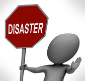 Disaster Red Stop Sign Shows Crisis Trouble Or Calamity — Stock Photo