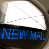 New Mail Postage Means Unread Email Or Message — Stock Photo
