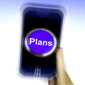Plans On Mobile Phone Shows Objectives Planning And Organizing — Foto de Stock