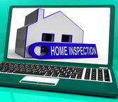 Home Inspection House Laptop Means Inspect Property Thoroughly — Stock Photo