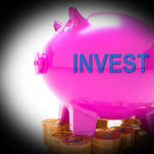 Invest Piggy Bank Coins Shows Investment Returns And Stake — Stock Photo