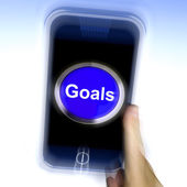 Goals On Mobile Phone Shows Aims Objectives Or Aspirations — Foto de Stock