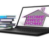 Home Sweet Home Laptop House Means Homely And Comfortable — Stock Photo