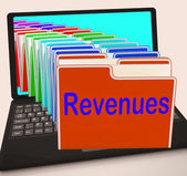 Revenues Folders Laptop Mean Business Income And Earnings — Stock Photo