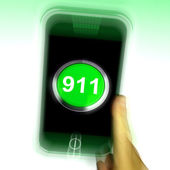 Nine One On Mobile Phone Shows Call Emergency Help Rescue 911 — Stock Photo
