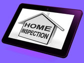 Home Inspection House Tablet Means Assessing And Inspecting Prop — Stock Photo