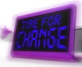 Hora para o relógio digital de mudança mostra revisão nova estratégia e ir — Foto Stock