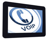 Voip Tablet Means Voice Over Internet Protocol Or Broadband Tele — Stock Photo
