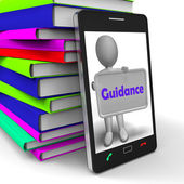 Guidance Phone Shows Advice Supervision And Support — Stock Photo
