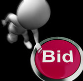 Bid Pressed Shows Auction Buying And Selling — Stock Photo