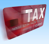Tax On Credit Debit Card Flying Shows Taxes Return IRS — Foto Stock