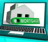 Mortgage House Laptop Shows Owing Money For Property — Stock Photo