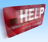 Help Bank Card Flying Means Give Monetary Support And Assistance — Stock Photo