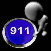 Nine One One Pressed Shows 911 Emergency Or Crisis — Stock Photo