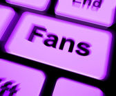 Fans Keyboard Shows Follower Or Internet Fan — Stock Photo