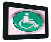 Disabled Tablet Shows Wheelchair Access Or Handicapped — Stock Photo