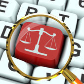 Scales Of Justice Key Magnified Means Law Trial — Stock Photo