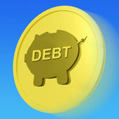Debt Gold Coin Means Money Borrowed And Owed — Stock Photo