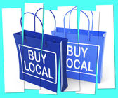Buy Local Shopping Bags Promote Buying Products Locally — Stock Photo