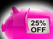 Twenty-Five Percent Off Piggy Bank Message Shows Price Slashed 2 — Stock Photo