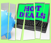 Hot Deals Piggy Bank Means Best Buys And Reduced Price — Stock Photo