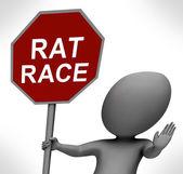 ラットレース赤いストップ サインを停止する多忙な仕事の競争を示しています — ストック写真