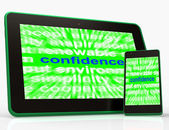 Confidence Tablet Shows Self-Assurance Composure And Belief — Stock Photo