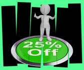 Twenty-Five Percent Off Pressed Shows 25 Lower Price — Stock Photo