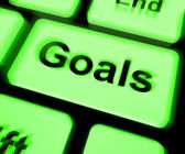 Goals Keyboard Shows Aims Objectives Or Aspirations — Stock Photo