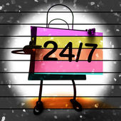 Twenty four Seven Shopping Bag Shows Hours Open — Stock Photo