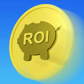 ROI Gold Coin Shows Financial Return For Investors — Stock Photo
