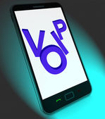 Voip On Mobile Shows Voice Over Internet Protocol Or Ip Telephon — Stockfoto