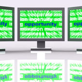 Opportunity Laptops Shows Good Chance Or Favourable Circumstance — Stock Photo