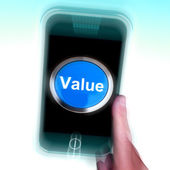 Value On Mobile Phone Shows Worth Importance Or Significance — Stock Photo