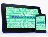 Creativity Tablet Shows Originality, Innovation And Imagination — Stock Photo
