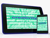Creativity Tablet Shows Originality, Innovation And Imagination — Stock Photo