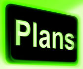 Plans Sign Shows Objectives Planning And Organizing — Foto de Stock