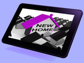 New Home House Tablet Means Buying Or Renting Out Property — Stock Photo